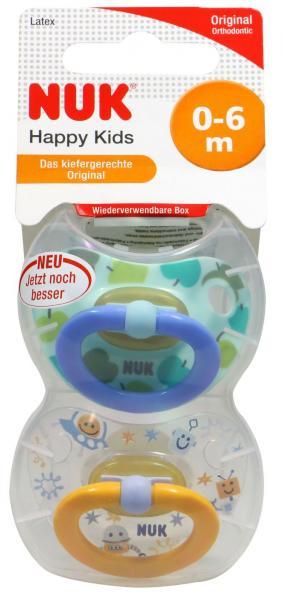 Nuk Happy Kids Latex-Schnuller Größe 1, für 0-6 Monate