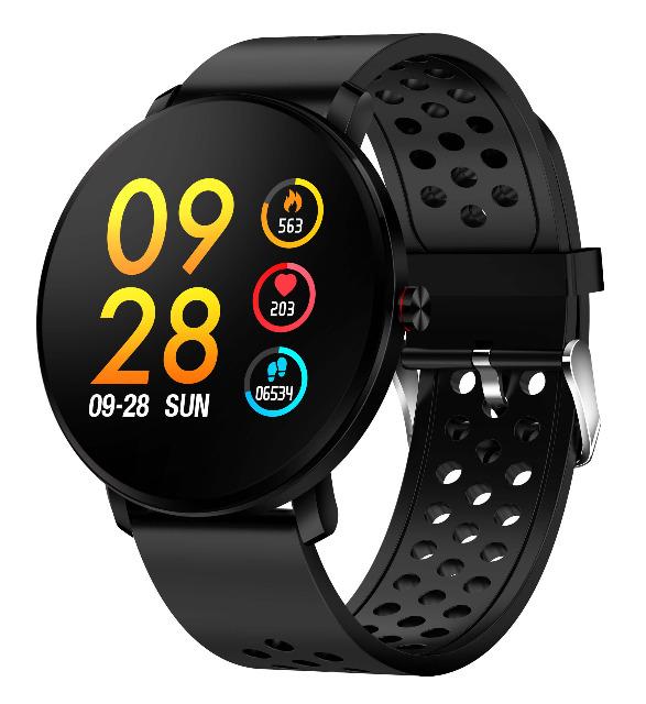 Denver Smartwatch SW-171Black Bluetooth Blutdruckmesser Touchscreen IP67 Fitnessuhr Schlaftracker Schrittzähler Pulsmesser