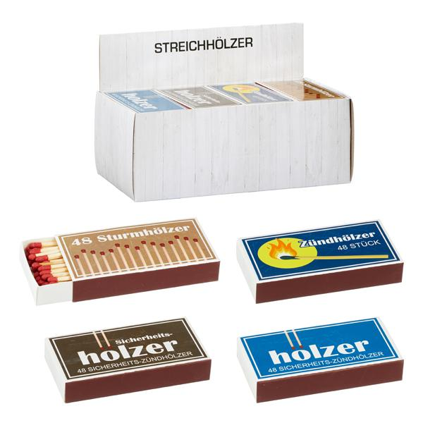 Streichhölzer Retro, 48Stück, 4 Pakete, ca. 10cm