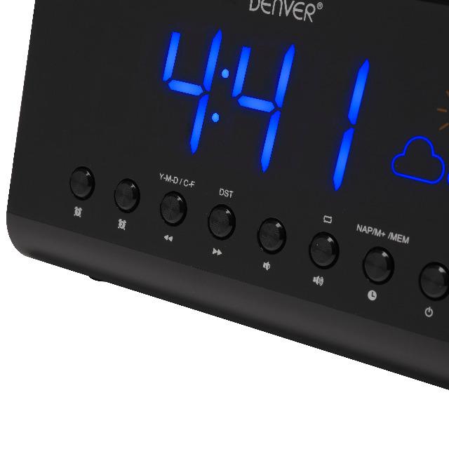 DENVER CR-718 Clockradio mit UKW-Radio & Wetteranzeige, 1,4
