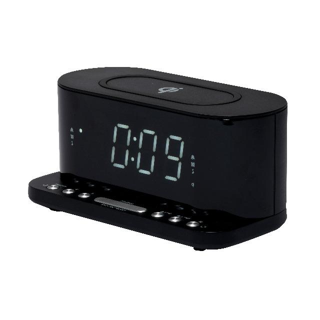 DENVER CRQ-110 FM Clockradio mit QI-Aufladung Dual-Alarm-Funktion und USB zum Aufladen von Telefonen ohne QI-Aufladung
