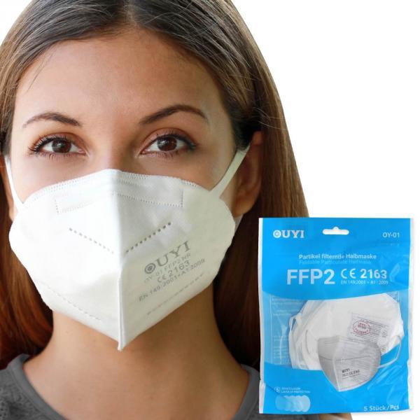 FFP2 Atemschutzmaske Mundschutz Maske 5 Stück/Pckg