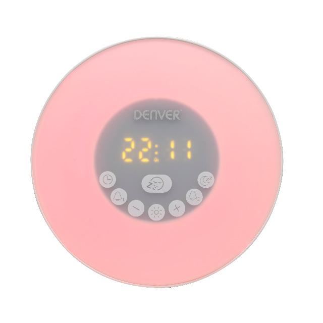 DENVER CRLB-400 Wake Up Light Clock Radio mit Bluetooth-Funktion Moodlight- und MicroSD-Kartensteckplatz für direkte MP3-Wiedergabe