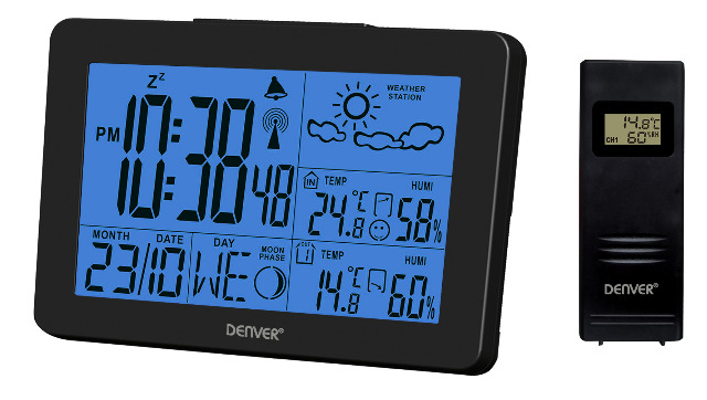 DENVER WS-530 Wetterstation mit Uhrfunktion & Innen-/Außenmessung Alarm-Funktion