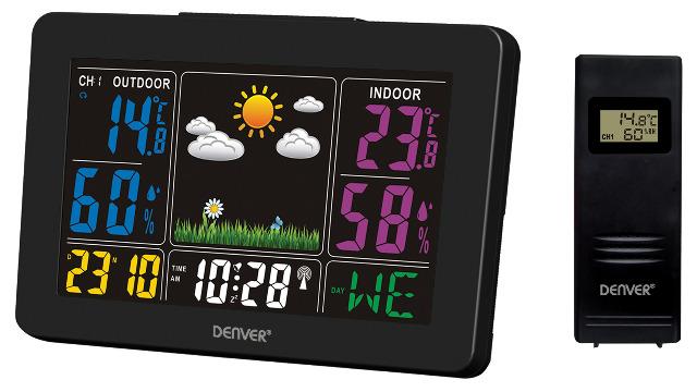 DENVER WS-540 Bunte Wetterstation mit Funkuhrfunktion & Innen-/Außenmessung Alarm-Funktion