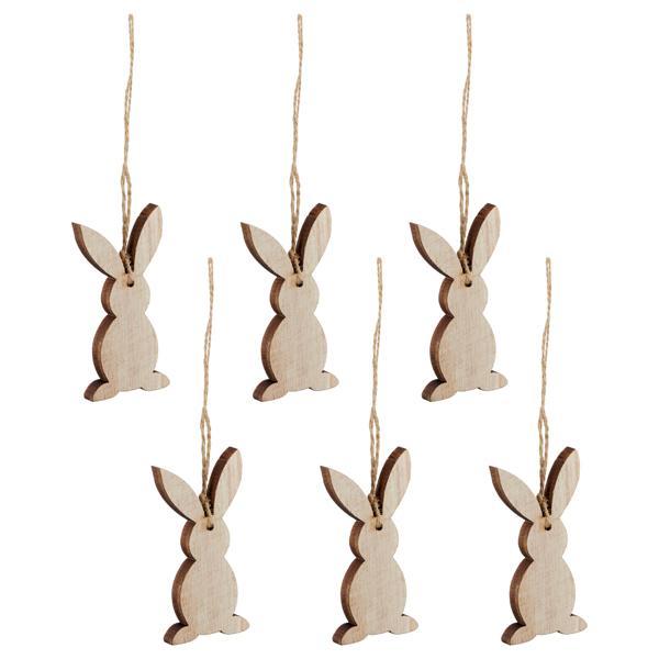 Osterdekoration Hänger Hase, natur, 6x im Set, die Osterhasen haben ca. je 9cm Höhe, schöne Oster-Anhänger aus Holz