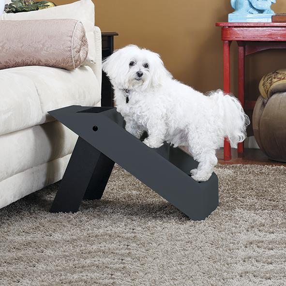 Praktische Hundetreppe mit 3 Stufen | Die Treppe ist ca. 37cm hoch und zusammenklappbar | Hundetreppe in anthrazit
