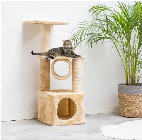 Toller Katzenkratzbaum mit 2 Säulen und Abwechslung für die Katze, 92cm hoch