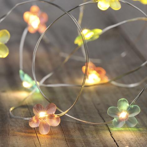 TOP LED BATTERIE - KUPFERLICHTERKETTE MIT 10 LEDs   SCHÖNES BLUMEN DESIGN BATTERIEBETRIEBEN