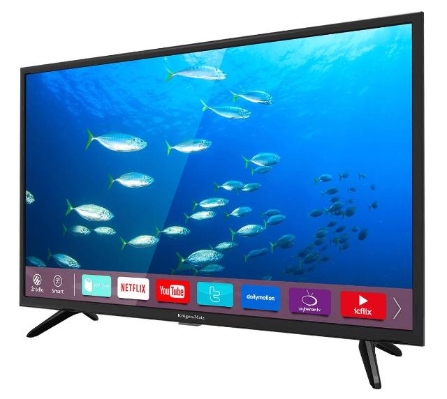 Krüger & Matz KM0232-S4 32 Zoll HD WLAN Smart TV Triple Tuner DVB-T2/S/C USB Fernseher EEK: F