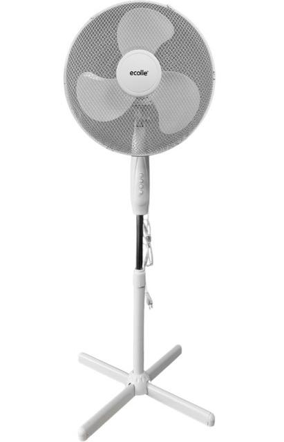 Ecolle 79702 Standventilator 40cm Durchmesser 45 Watt Rotation 3 Stufen Ventilator Kühle Frische Luft Sommer