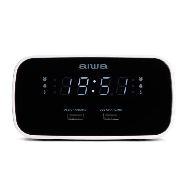Aiwa CRU-19BK Schwarz Radiowecker LED-Display USB Ladefunktion Dimmer FM-Radio Uhr Uhrzeit Smartphone Tablet