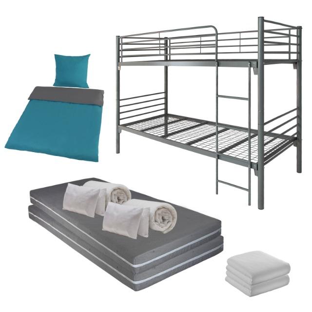 Komplettset für zwei Personen mit teilbarem Etagenbett / Hochbett / Stockbett