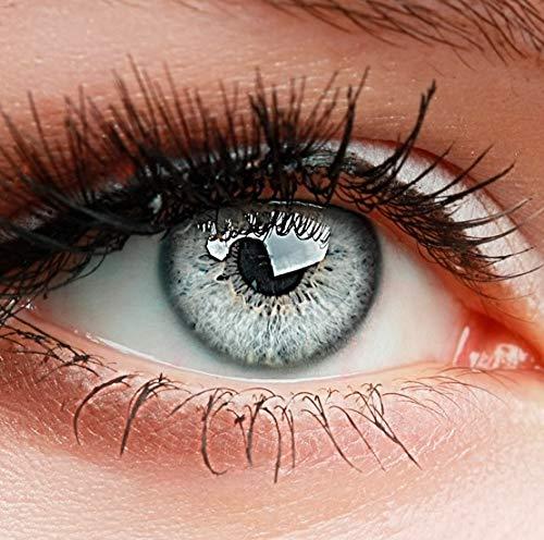!ELFENWALD farbige Kontaktlinsen, 3 - Monatslinsen, INTENSE EISGRAU HELLGRAU, Neu
