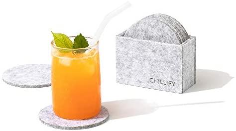 Chillify Filz-Untersetzer 8er Set Rund Dunkelgrau - Neu