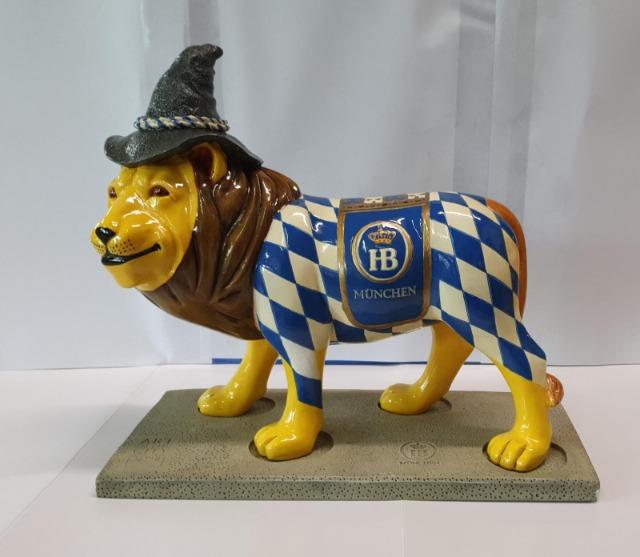 XXL 25 cm Oktoberfest Dekoration Bayerischer Löwer Wiesn Deko Weiss Blau Hofbräu Lizenzartikel