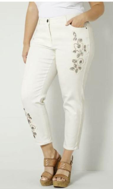 Jeans mit floralen Applikation