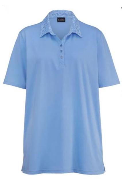 !Poloshirt mit aufwendiger Spitzenverarbeitung am Polokragen